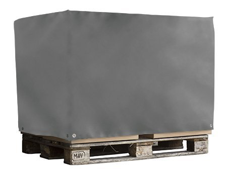 Abdeckhaube für Euro Paletten | Palettenhaube aus sehr robuster LKW - Plane (650g/qm) | Ohne Reißverschluss | Ideal für Langjährigen Einsatz geeignet | Versandkostenfrei | Maße in cm: 125x85x125