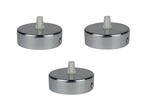 Deckenbaldachin aus Edelstahl gebürstet, 80x25 mm incl. Zugentlastung Klemmnippel (Standard m10 Gewinde) zur Lampenaufhängung an der Decke(Deckenrosette/Baldachin). Anzahl: 3 Stück