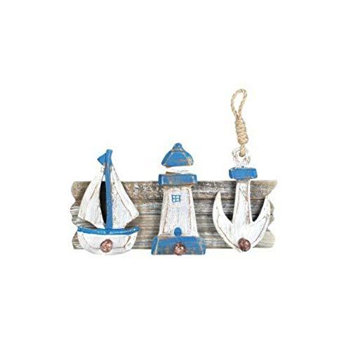 CAPRILO Percha de Pared Decorativa de Madera con 3 Pomos Barco, Faro, Ancla. Percheros. Adornos y Muebles Auxiliares. Decoración Hogar. Regalos Originales. 16 x 30 x 6 cm.