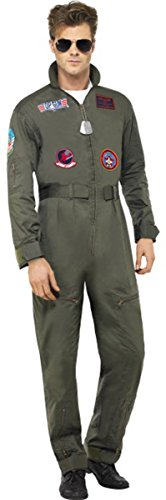 Kostüm Tv (Herren Fancy Party Jumpsuit Top Gun Deluxe Kostüm Film & TV Erwachsene Komplett Kleid Gr. L,)