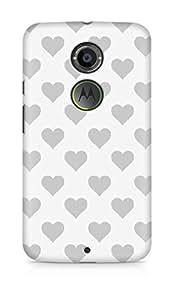 Amez designer printed 3d premium high quality back case cover for Motorola Moto X (2nd Generation) (grey hearts)