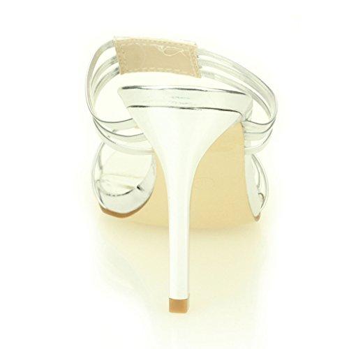 Frau Damen Abend Hochzeit Party Hoch Ferse Open Toe Diamant Braut Sandale Schuhe Größe (Licht Gold, Silber, Schwarz) Silber