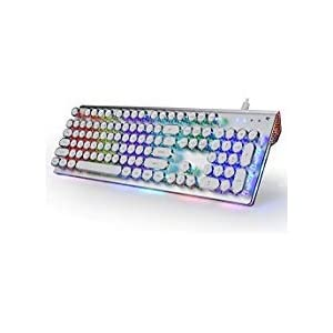 DoubleW Retro Typewriter Mechanical Keyboard with RGB LED Backlit & Dynamic Sidelight Rim Blue Switch 104-Key Anti-Ghosting for Gaming Metal Panel & Steampunk Round White Keycaps Wired USB