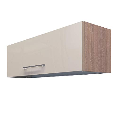 Flex-Well Klapp-Hängeschrank NEPAL - Küchenschrank - Breite 100 cm - Creme glänzend/Eiche Sonoma