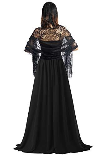 Yaomei donna sciarpa stole scialli, pizzo vuoto estate scialle per il tempo libero e il commercio nuziale bridemaids abiti da sera partito (78.7 * 24.8 pollici (200 cm * 63 cm), nero)