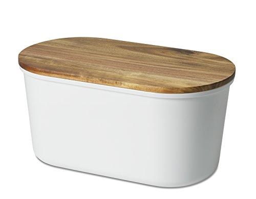 """Echtwerk Brotbox \""""Fresh\"""" Brotkasten, Akazienholz/Melamin, weiß, 37 x 17 x 22 cm"""