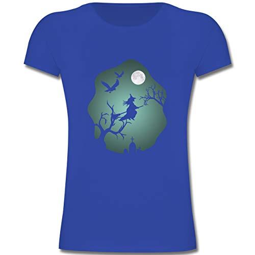 Anlässe Kinder - Hexe Mond Grusel Grün - 116 (5-6 Jahre) - Royalblau - F131K - Mädchen Kinder T-Shirt (Weiße Magierin Kostüm Kind)