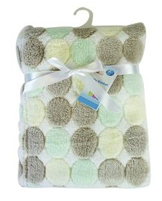 """""""First Steps"""" Luxury Soft Fleece Baby Blanket in Cute Dots Design 75 x 100cm for Babies from Newborn"""