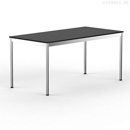 VERSEE system8x Design Schreibtisch - Holz - Schwarz - 180 x 80 cm - Konferenztisch Metall-Gestell in Stahl/Chrom hochwertige Verarbeitung Dekor...