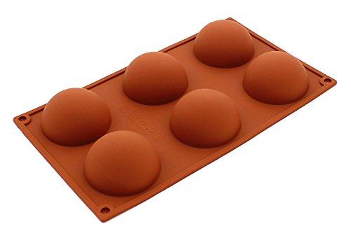 Pure Vie® 6er Silikon Backform / Muffinform für Muffins, Brownies, Cupcakes, Kuchen, Pudding, Eiswürfel und Gelee - Halbe Kugel