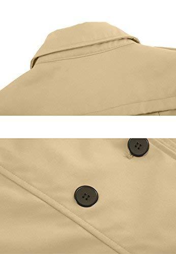 Wantdo – Klassischer Zweireiher Damen Trenchcoat in Khaki mit Gürtel - 4