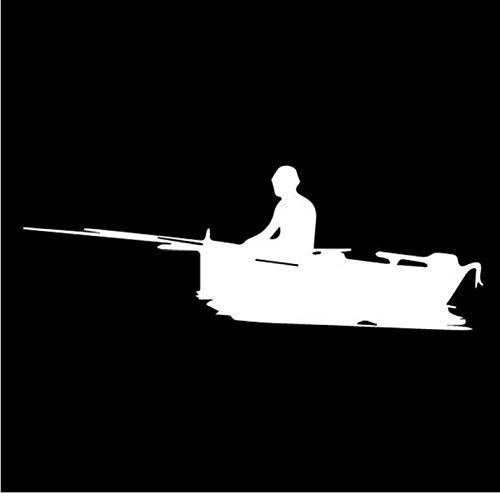 ZEEKYLY 18 cm * 6,4 cm Schiff Angeln Fluss Boot Segel Schatten Körper Aufkleber Vinyl Aufkleber Auto Aufkleber Weiß