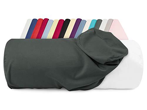 npluseins Jersey-Kissenhülle für Nackenrollen in 17 Farben - 100% Mako-Baumwolle - Einheitsgröße ca. 40 x 15 cm, Bezug in Titanium -