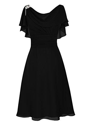 Dresstells, Robe de mère de mariée Robe de demoidelle d'honneur longueur au genou col ras du cou Noir