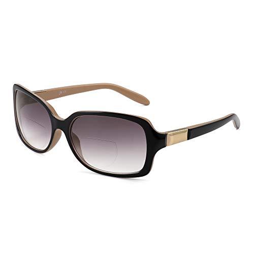 JM Klassisch Bifokal Lesebrille Platz Stylish Gradient Sonnenbrillen Leser für Damen +2.25 Schwarz