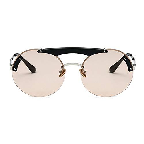 ZRTYJ Sonnenbrillen Braun Promi Brillen Männer Vintage Runde Sonnenbrille Frauen Transparent