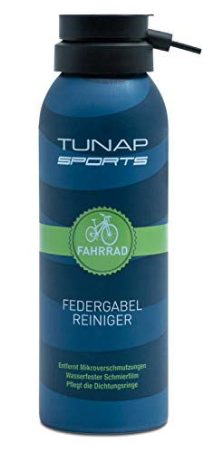 TUNAP SPORTS Fahrrad Federgabel-Reiniger | Spray für Dämpf- und Federelemente am Bike reinigt, pflegt, schmiert (125ml-2019)