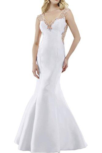 Royaldress Dunkel Blau Satin Lang Abendkleider Brautjungfernkleider  Jugendweihe Kleider mit Spitze Weiß