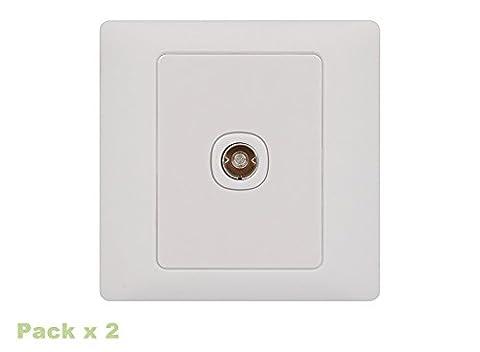 Rocca Softfeel Single TV/FM Coaxial Socket (Pack x2)