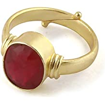Pranjal Red 9.25 Ratti Natural Certified Ruby Manik Gemstone Panchdhatu Ring for Men & Women