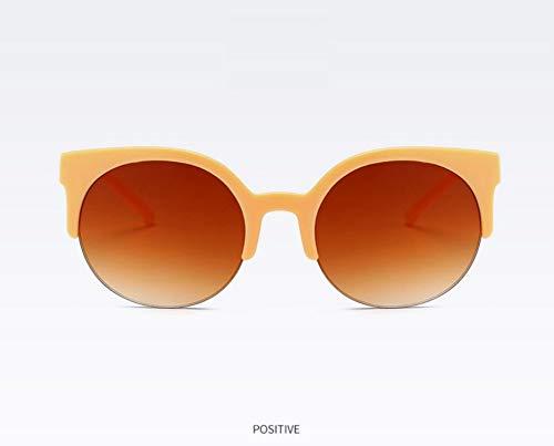 WSKPE Sonnenbrille,Mode Hälfte Frame Brille Cat Eye Sonnenbrille Frauen Vintage Runder Kreis Semi-Rimless Gläser Uv 400 Beige Rahmen Braun Linse