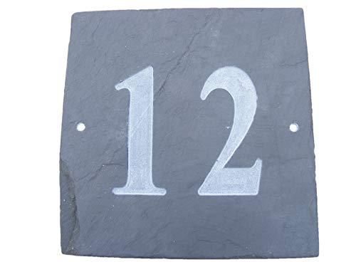 N ° 12 GRIS ARDOISE NATURELLE NUMÉRO DE MAISON 15 x 15 CM PROFONDEUR PLAQUE GRAVÉE DE SURFACE NATURELLES UNE CRÉMAILLÈRE CADEAU (150 x 150 MM