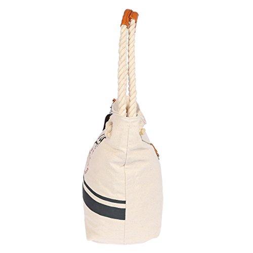 Christian Wipper Mann tela borsa a tracolla borsa estate spiaggia 40x 35x 20cm (beige/blu) crema