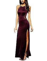 Angelwing da Donna Sottile Vestito con Aberturas Abito Maxi di Pizzo Senza  Schienale Vestiti da Cerimonia 60d102338a2