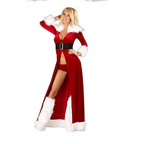 ten Rot Big Mantel Weihnachten Maskerade Party Dress Ds Nachtclub Bar Halloween Rollenspiel Strumpfhosen (Kleidung + Gürtel + Kniepolster),Red ()