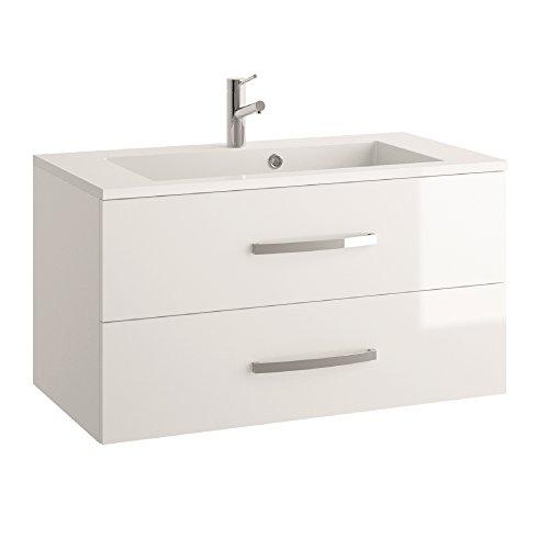 ALLIBERT Badmöbel-Set Badmöbel vormontiert weiß Spiegelschrank Waschtisch 90 cm