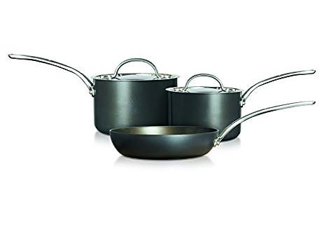 Raymond Blanc einfach perfekt Harteloxiertes 3-teiliges Set–16cm und 18cm Stielkasserolle und 24cm Bratpfanne, schwarz