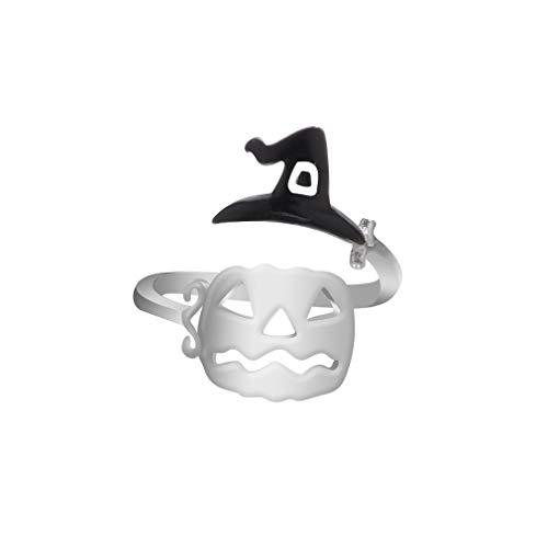 Yinew Halloween Open Ring Hexenhut Kürbis Gesicht Besen Ghost Einfache Offenen Ring Mode Party Cosplay Schmuck Frauen, Schwarz 1#