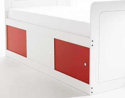 Scallywag Kids Captains Bed 3Ft Shorty in White with 3 Sliding Doors (2 x Red/1 x White). Made In The UK.