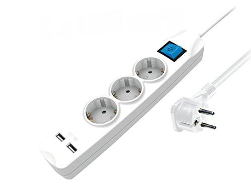 Regleta de 3enchufes con 2USB–puerto uchsenund Conector plano, con interruptor, protección infantil, 1,5m) Color Blanco