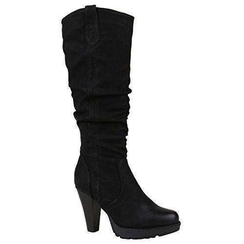 Damen Stiefel Leicht Gefütterte Plateaustiefel High Heels Schuhe 151681 Schwarz Bernice 39 Flandell