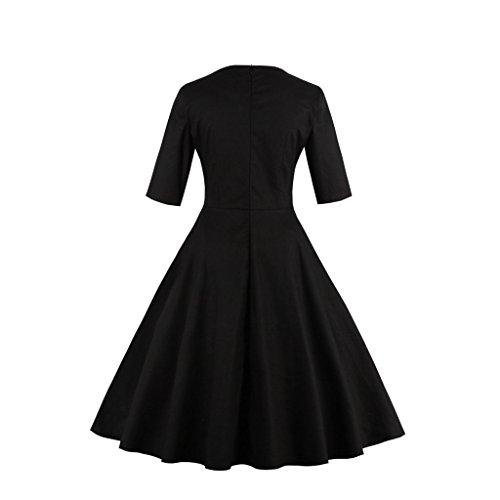 Dissa M1333 femme Rockabilly Robe de Soiré cocktail Robe de Bal Retro Bleu noir