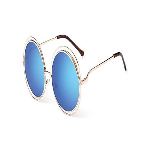 Sport-Sonnenbrillen, Vintage Sonnenbrillen, Vintage Round Big Size Oversized Lens Spiegel Sunglasses Women Brand Designer Metal Frame Lady Sun Glasses Lady Cool Retro 9-Gold-Blue
