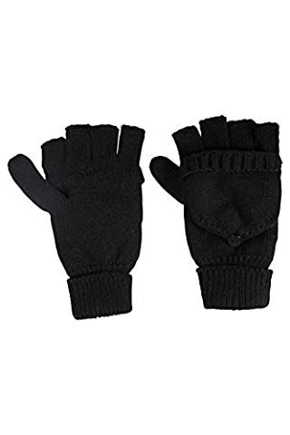 Mountain Warehouse Fingerless Knitted Women's Mitten - Fleece Lined & Elasticated Cuff for Fit, Warm & Comfort with Convertible Design - Ideal for Winter Black