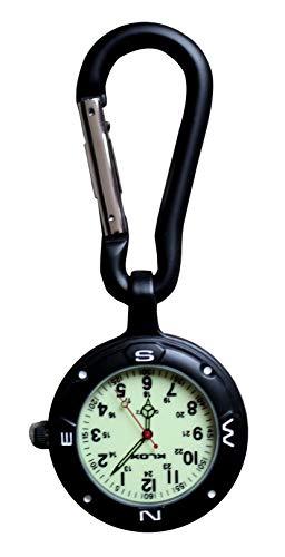 Klox Schwarzer Clip auf Karabinerhaken mit leuchtendem Gesicht für Ärzte, Krankenschwestern, Sanitäter, Köche, Sport