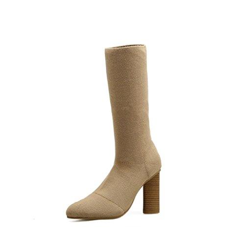 Aurora Beine (ALUK- Herbst und Winter - dicke hochhackige Stiefel strecken Beine Pediküre Stiefel-in-Rohr Damen Stiefel ( größe : 37-foot length 235cm ))