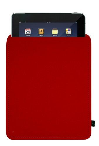 Filztasche für iPad, rot, blanko; Größe für iPad2, iPad3 und iPad Generation 4, ggf. auch für andere Tablets geeignet (Krone-wappen-stickerei)
