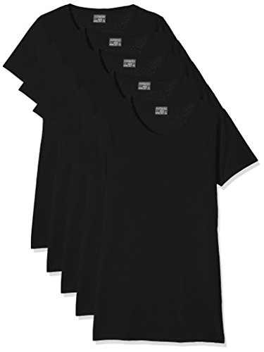 KUSTOM KIT Damen T-Shirt Kk754, 5er Pack, Schwarz (Black Blk), 40 (Schwarzes Wash T-shirt)