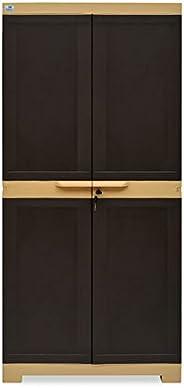 Nilkamal Freedom Mini Medium (FMM) Plastic Storage Cabinet (Weathered Brown & Bisc
