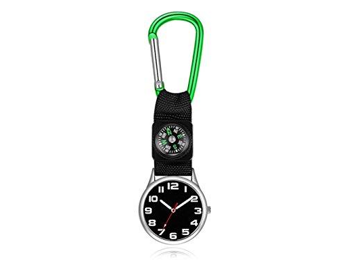 Modische Uhr Karabiner Krankenschwester Uhr FOB Pflege Alloy Gürtel Haken Clip Tunika (Schwarz) (Farbe : Green, Größe : 9.7X3.7X0.7cm)