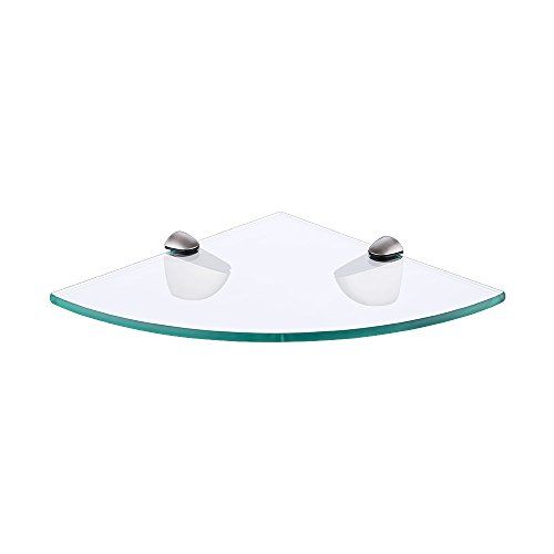 KES Rinconera Para Baño Lavabo Vidrio Templado Estante Montaje en Pared Cepillado, BGS3100-2