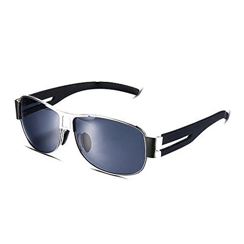 Hmilydyk pour homme Sports Lunettes de soleil polarisées UV400incassable Full Metal Cadre Eyewear Lunettes de ski Golf Course Camping, Silver Frame with Black Lens