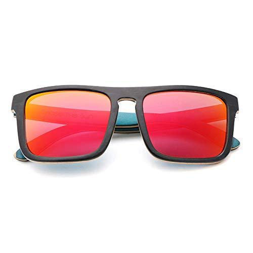 DelongKe Unisex Polarisierte Holz Sonnenbrille Vintage UV400 Bunte Flash Mirror Lens, Schlagfestigkeit Stark Geeignet Angeln, Radfahren, Klettern,Red