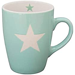 Krasilnikoff - Tasse, Becher, Henkelbecher, Mug - mit Stern - Mintgrün, Mint - Handmade - Keramik