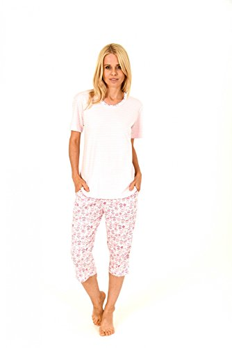 Toller Damen Pyjama kurzarm mit Capri Hose und Streifenoptik - 171 204 90 838, Größe:48/50;Farbe:rosa (Capri-pyjama-hose)