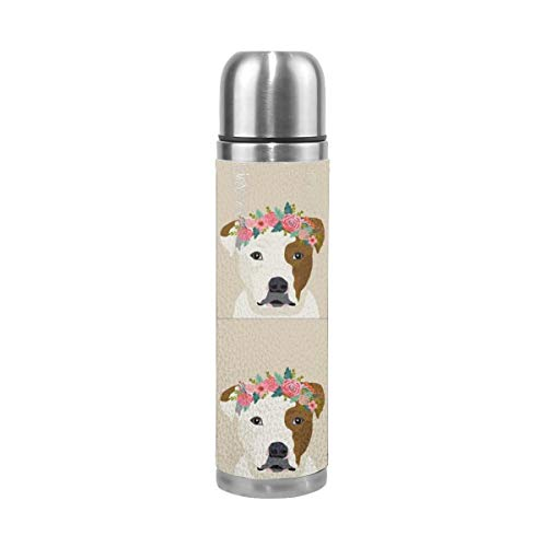 Pitbull Brown and White Dog with Cut Lines - Dog Panel, Dog, Cut and Sew -floral 17 Oz(500ML) Double Layer Leak-Proof Stainless Steel Vacuum Insulated Water Bottle -